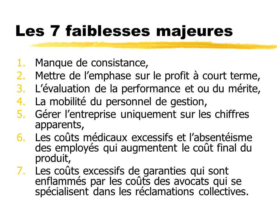 Les 7 faiblesses majeures