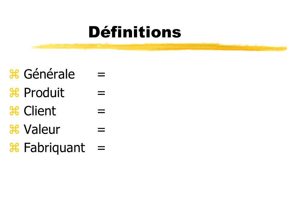 Définitions Générale Produit Client Valeur Fabriquant =