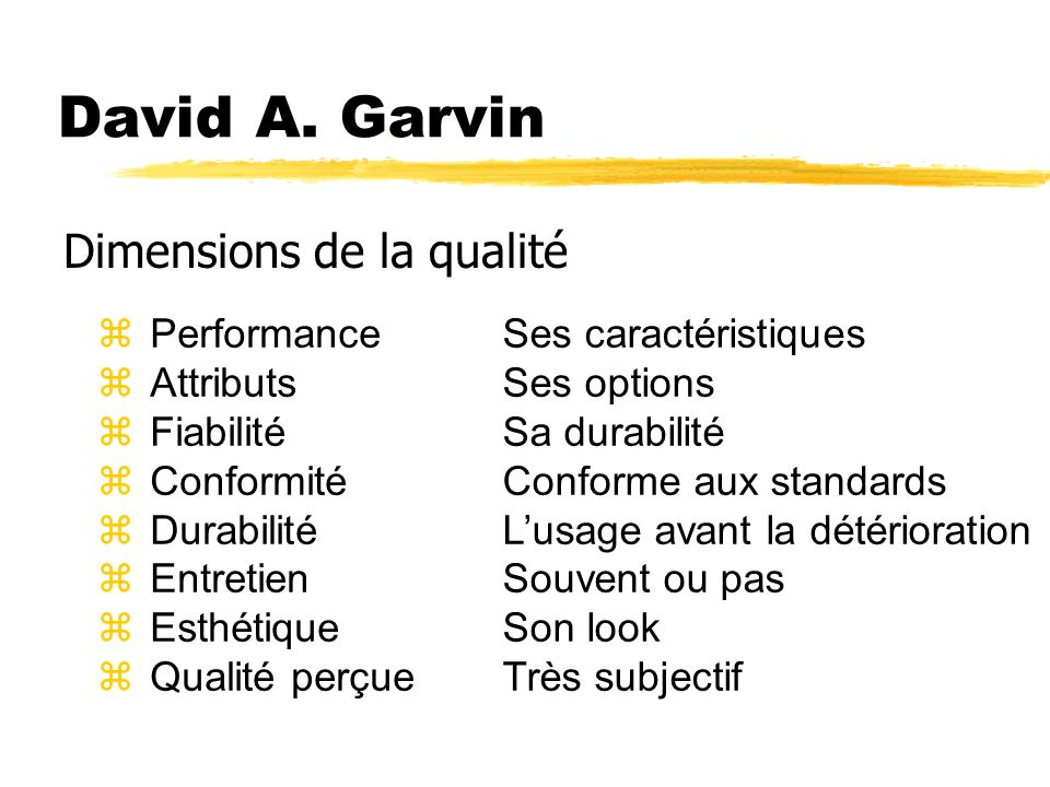 David A. Garvin Dimensions de la qualité Performance Attributs