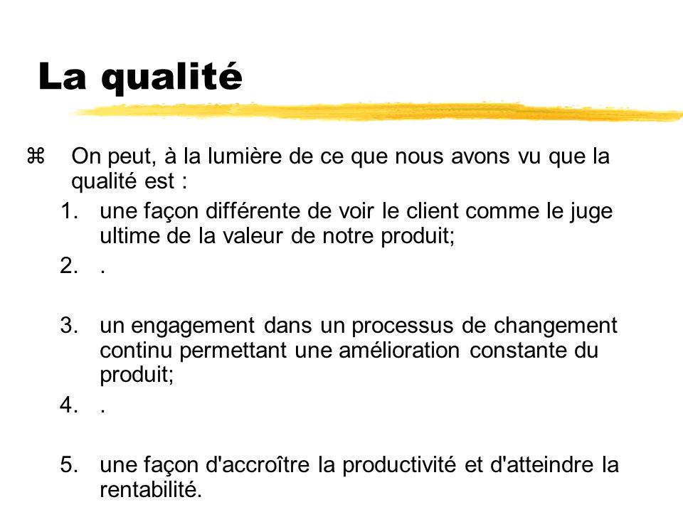 La qualité On peut, à la lumière de ce que nous avons vu que la qualité est :