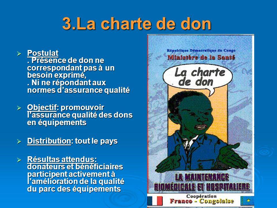 3.La charte de don Postulat . Présence de don ne correspondant pas à un besoin exprimé, . Ni ne répondant aux normes d'assurance qualité.