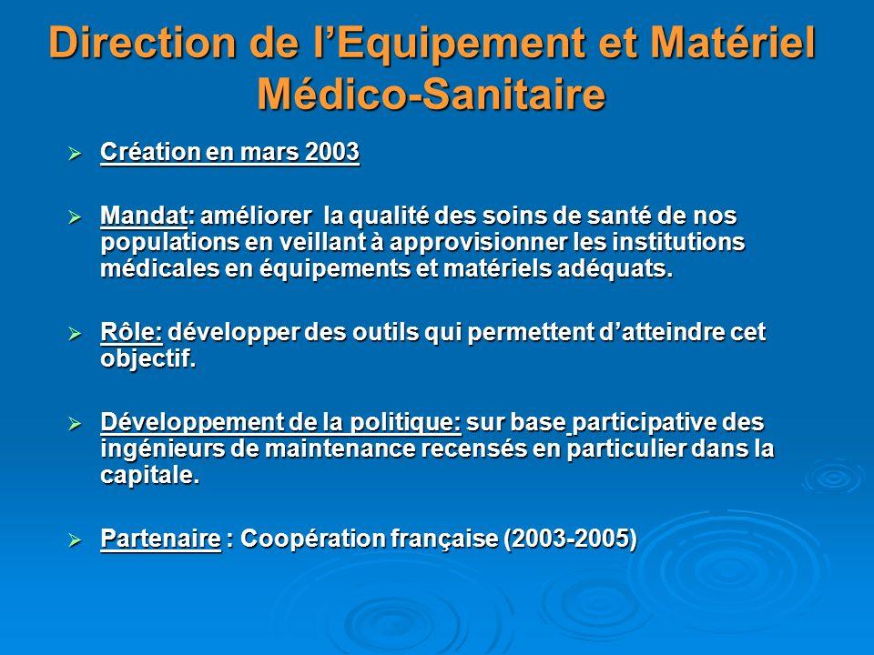 Direction de l'Equipement et Matériel Médico-Sanitaire