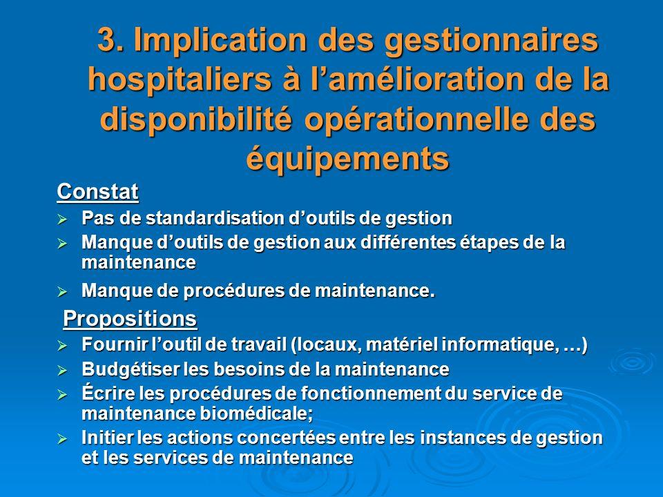 3. Implication des gestionnaires hospitaliers à l'amélioration de la disponibilité opérationnelle des équipements
