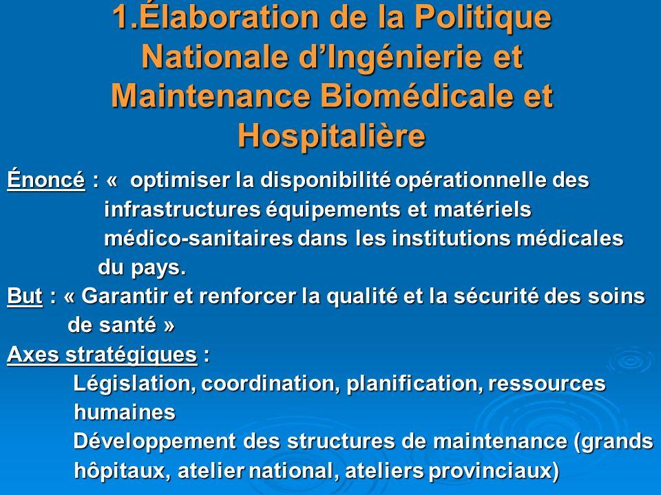 1.Élaboration de la Politique Nationale d'Ingénierie et Maintenance Biomédicale et Hospitalière