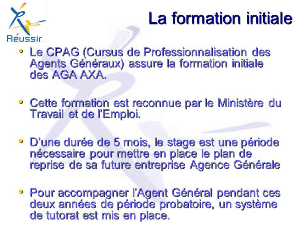 La formation initiale Le CPAG (Cursus de Professionnalisation des Agents Généraux) assure la formation initiale des AGA AXA.