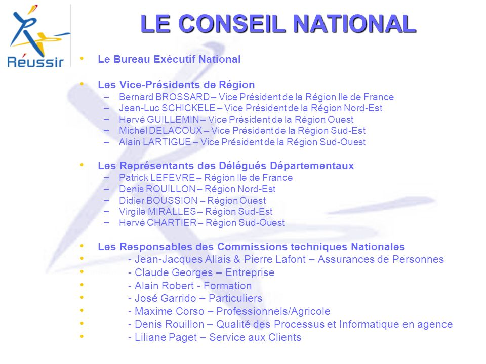 LE CONSEIL NATIONAL Le Bureau Exécutif National