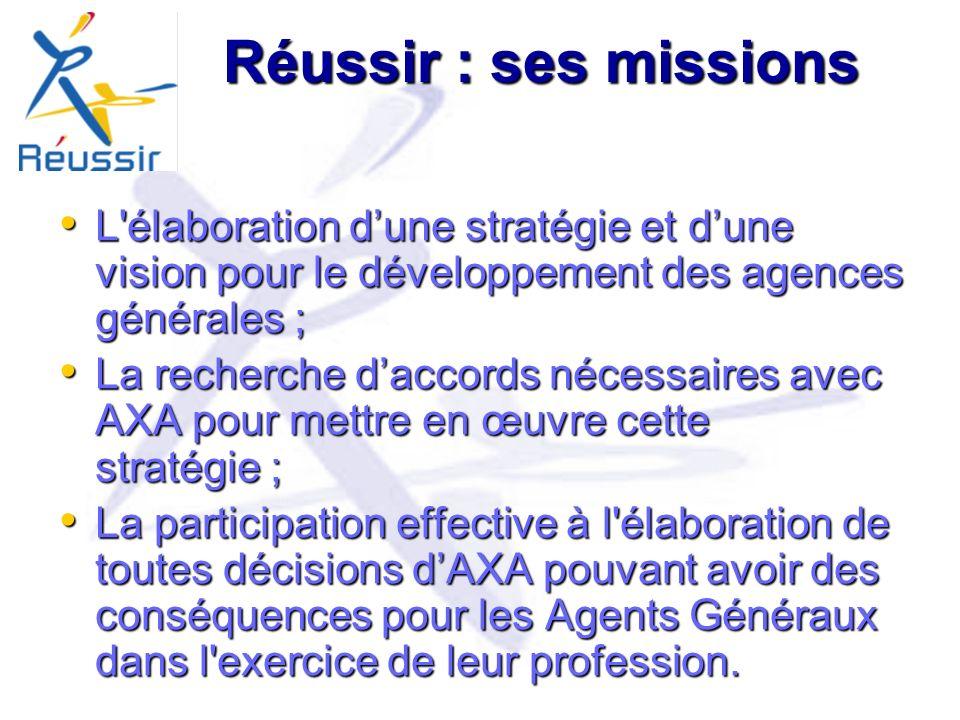 Réussir : ses missions L élaboration d'une stratégie et d'une vision pour le développement des agences générales ;