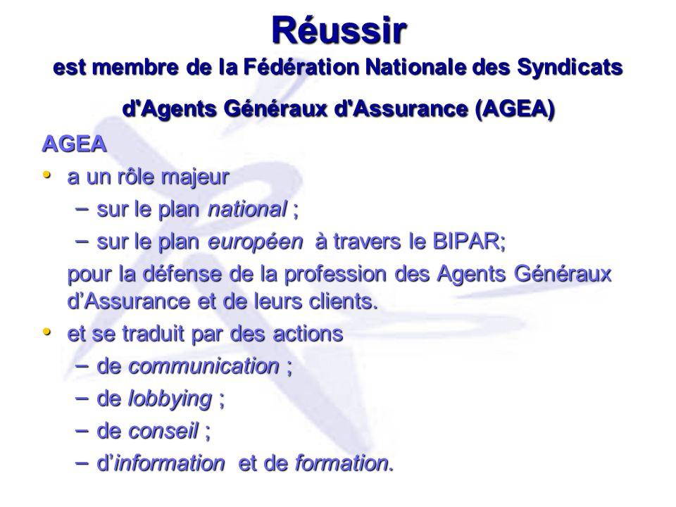 Réussir est membre de la Fédération Nationale des Syndicats d Agents Généraux d Assurance (AGEA)