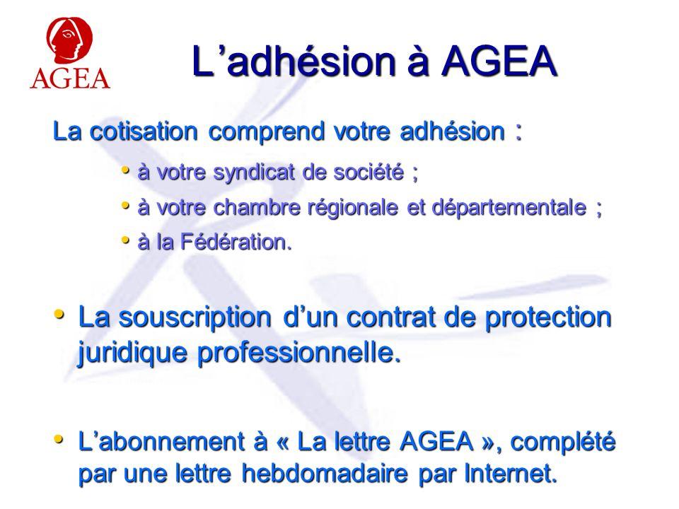 L 'adhésion à AGEA La cotisation comprend votre adhésion : à votre syndicat de société ; à votre chambre régionale et départementale ;