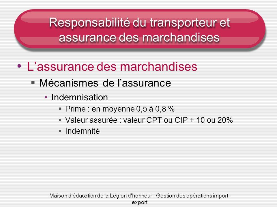 Responsabilité du transporteur et assurance des marchandises