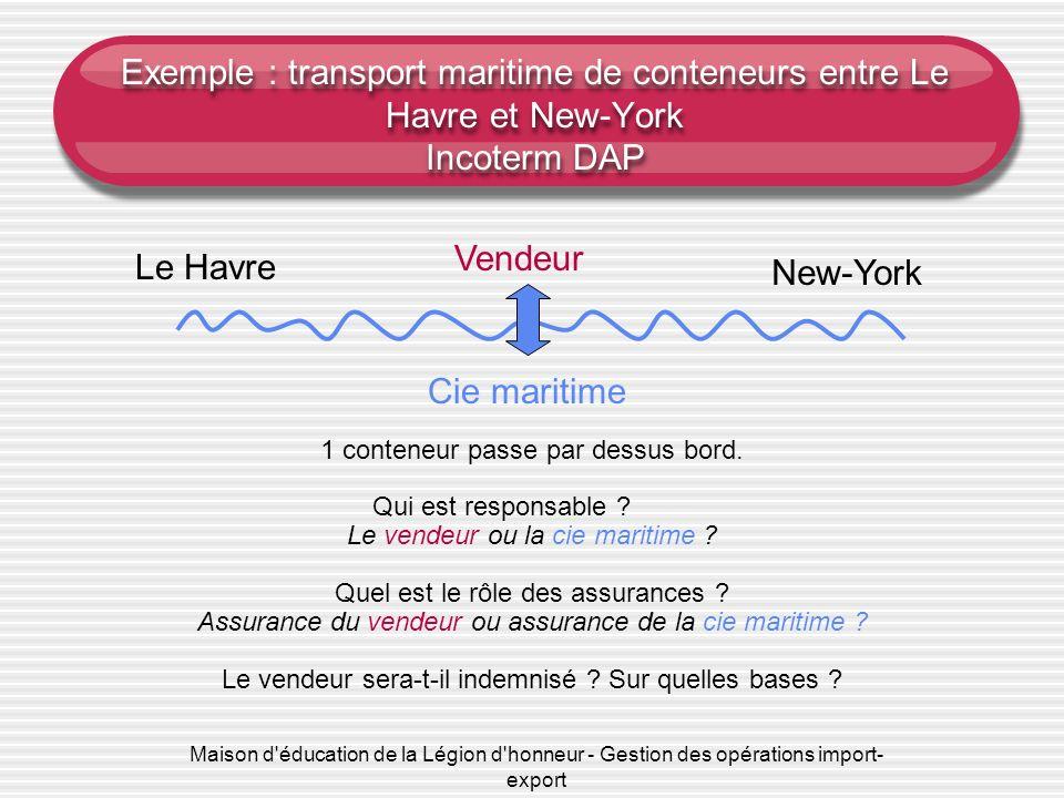 Exemple : transport maritime de conteneurs entre Le Havre et New-York Incoterm DAP