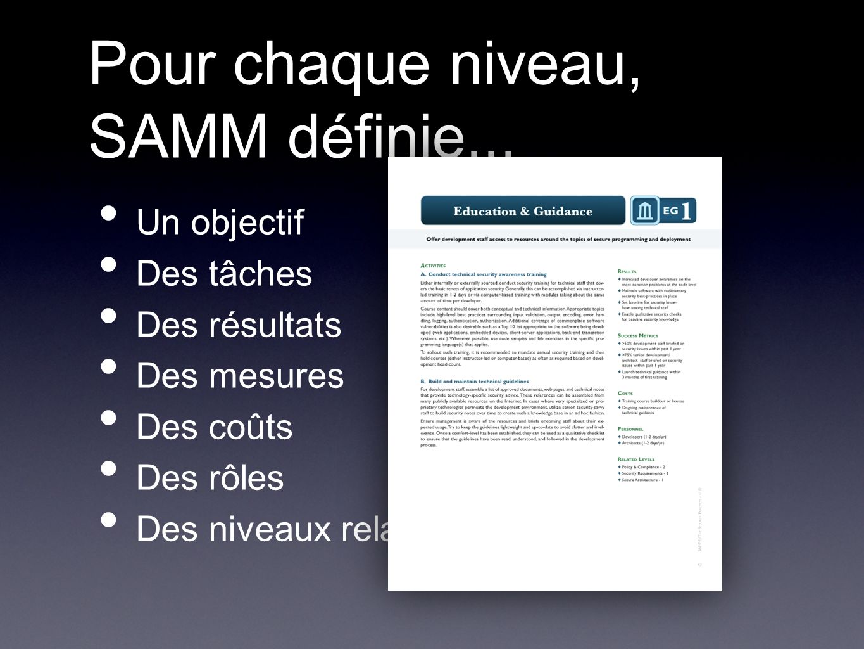 Pour chaque niveau, SAMM définie...
