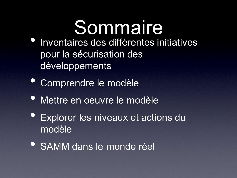 Sommaire Inventaires des différentes initiatives pour la sécurisation des développements. Comprendre le modèle.