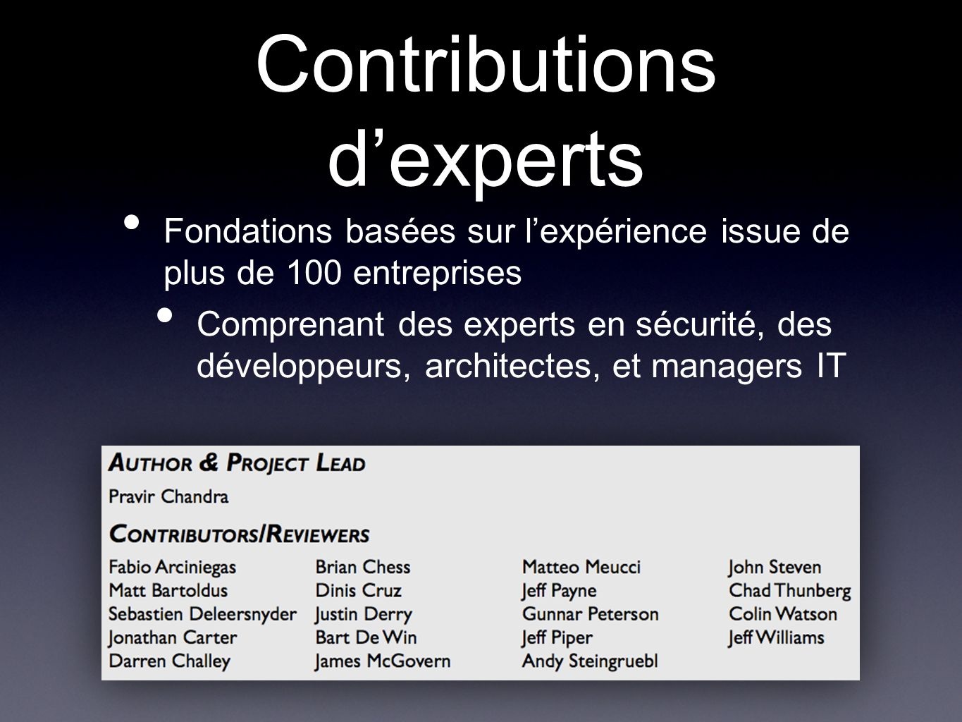 Contributions d'experts