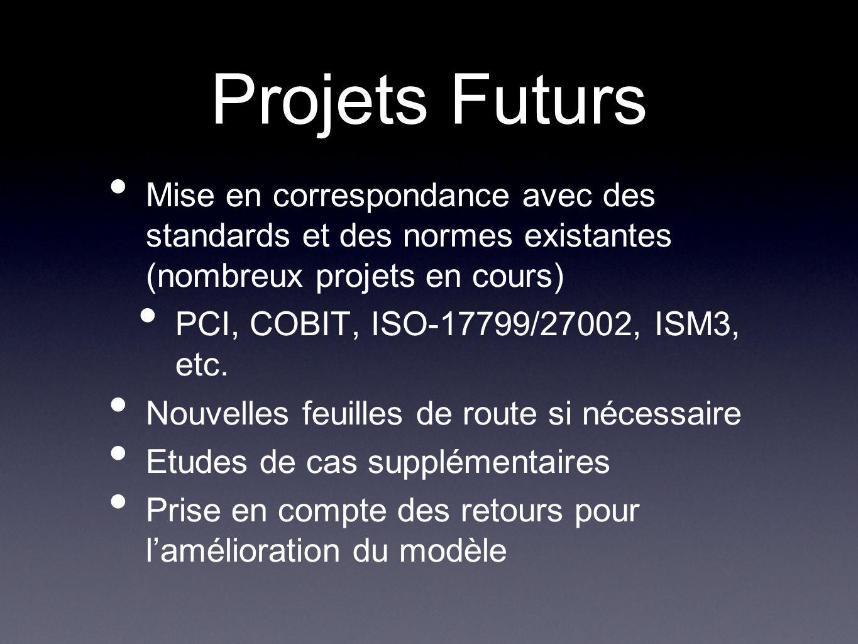 Projets Futurs Mise en correspondance avec des standards et des normes existantes (nombreux projets en cours)