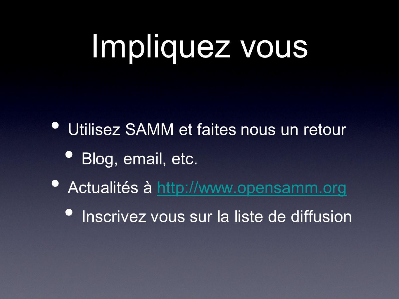 Impliquez vous Utilisez SAMM et faites nous un retour