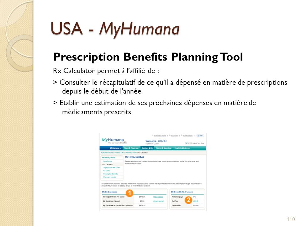 USA - MyHumana Prescription Benefits Planning Tool