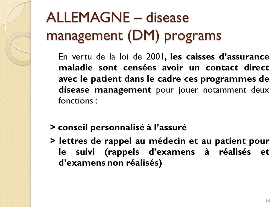 ALLEMAGNE – disease management (DM) programs