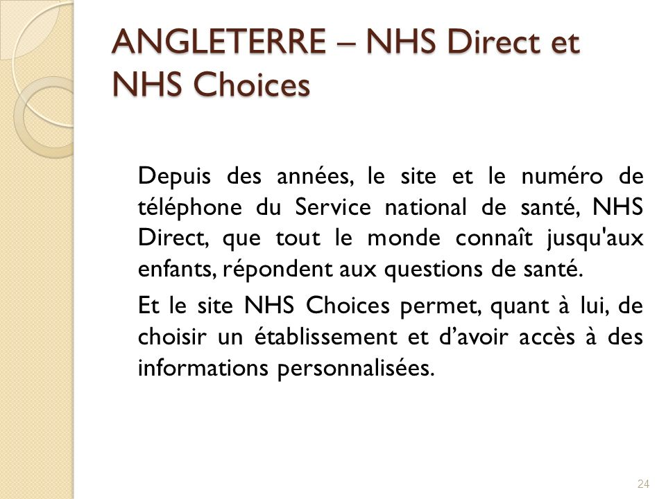 ANGLETERRE – NHS Direct et NHS Choices