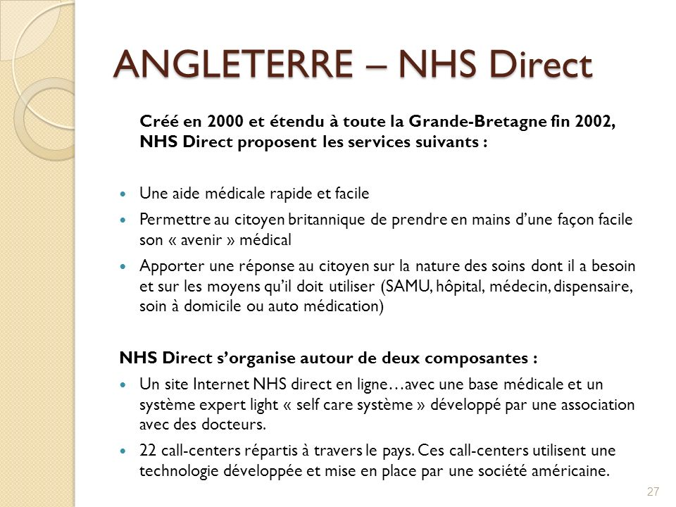 ANGLETERRE – NHS Direct