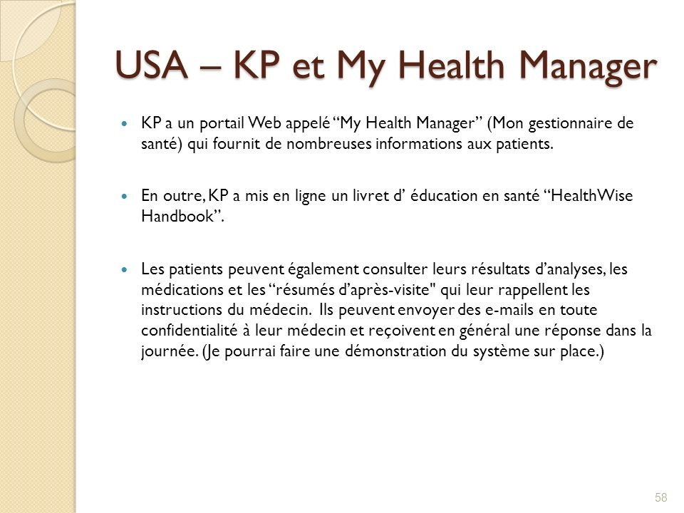 USA – KP et My Health Manager