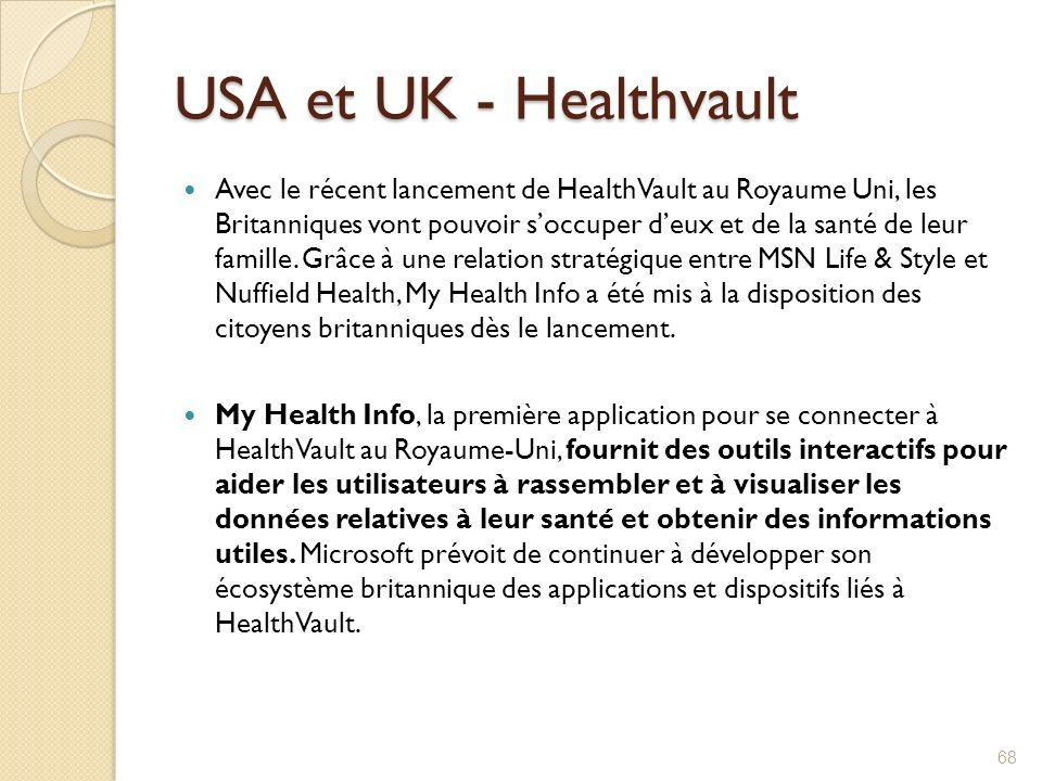 USA et UK - Healthvault