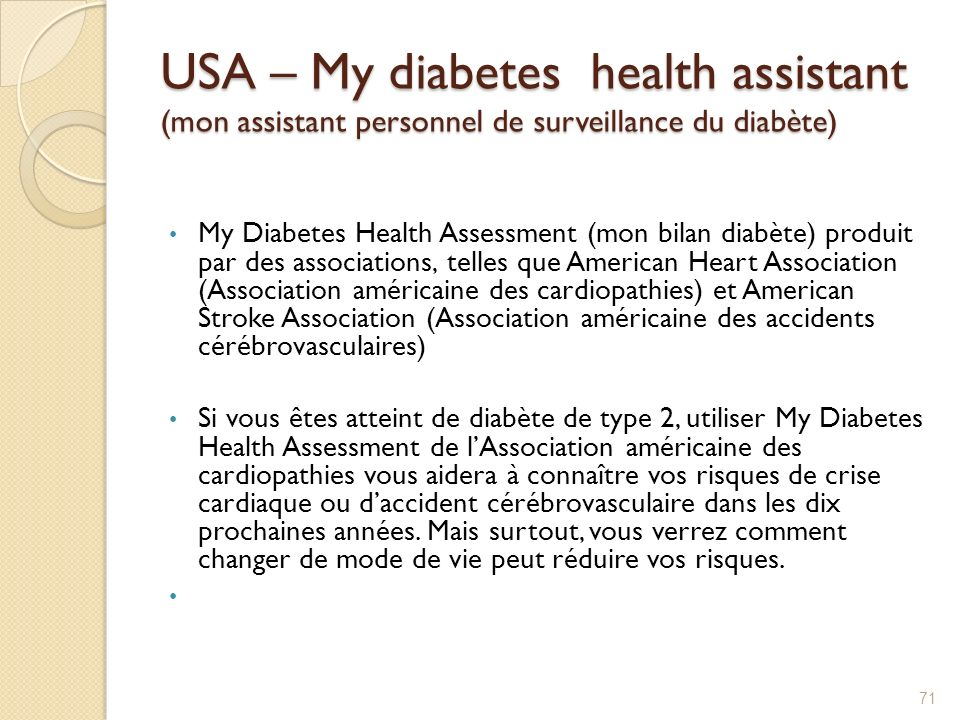 USA – My diabetes health assistant (mon assistant personnel de surveillance du diabète)