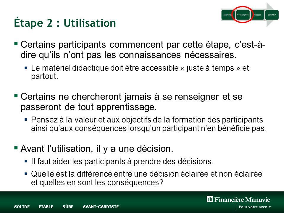 Étape 2 : Utilisation Certains participants commencent par cette étape, c'est-à-dire qu'ils n'ont pas les connaissances nécessaires.