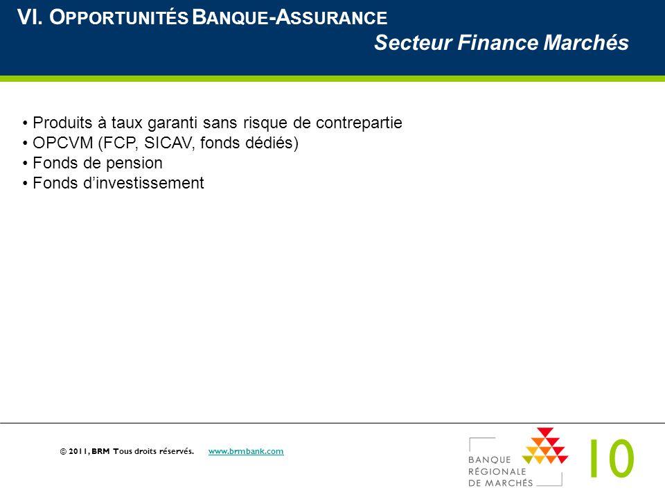 VI. Opportunités Banque-Assurance Secteur Finance Marchés