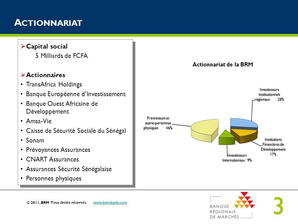 Actionnariat Capital social 5 Milliards de FCFA Actionnaires