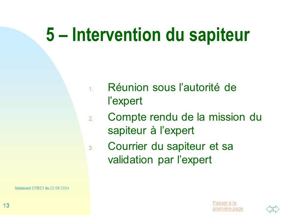 5 – Intervention du sapiteur