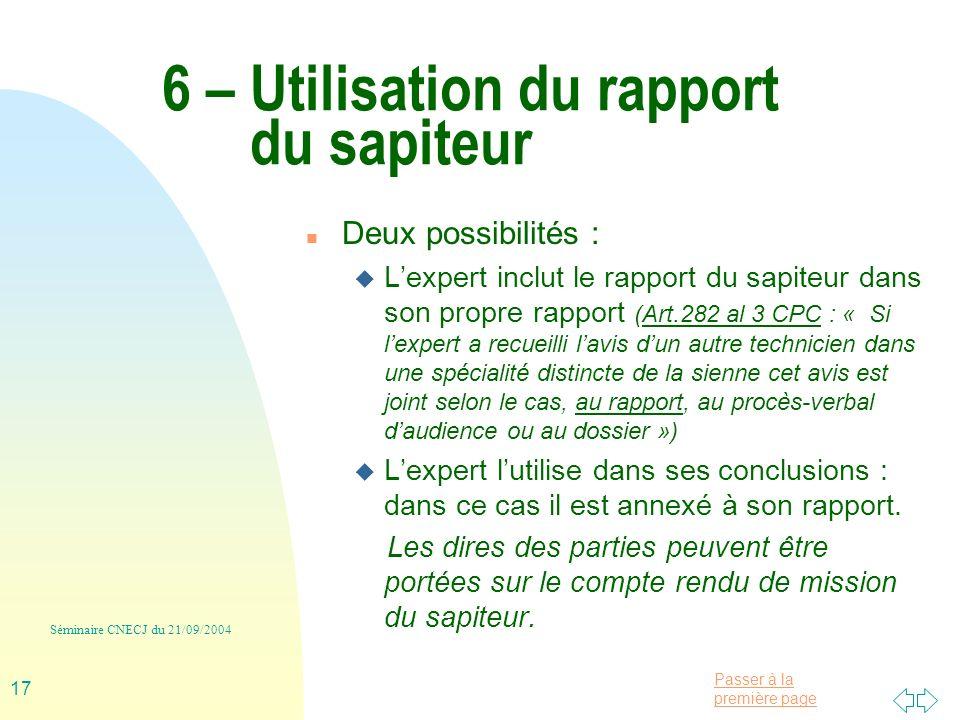 6 – Utilisation du rapport du sapiteur