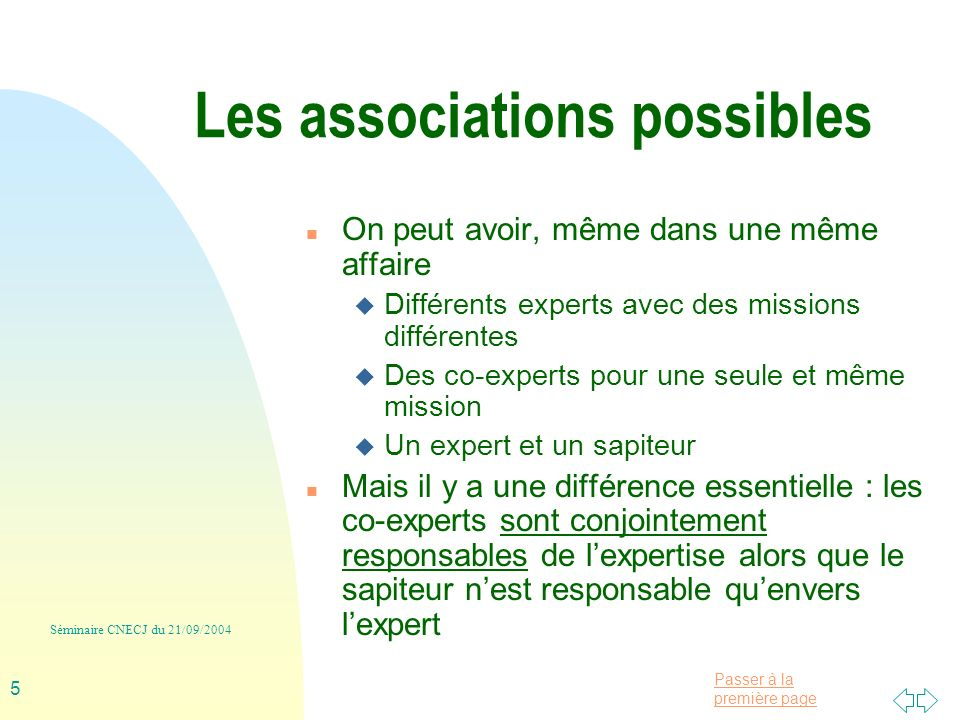 Les associations possibles