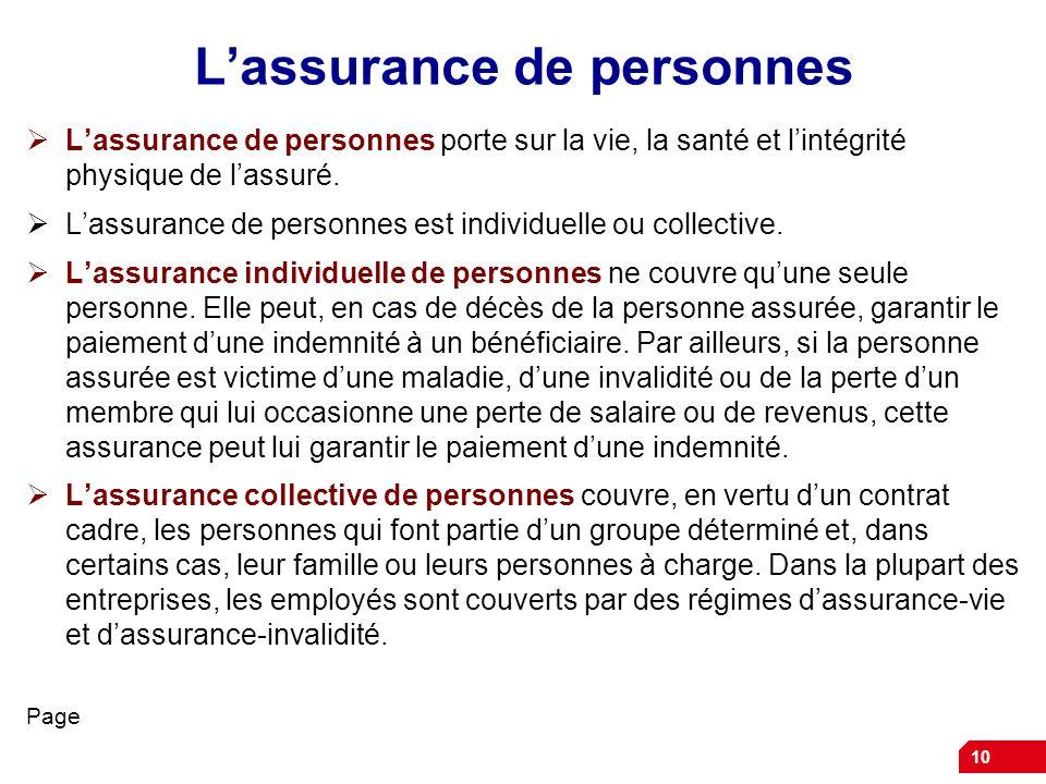 L'assurance de personnes