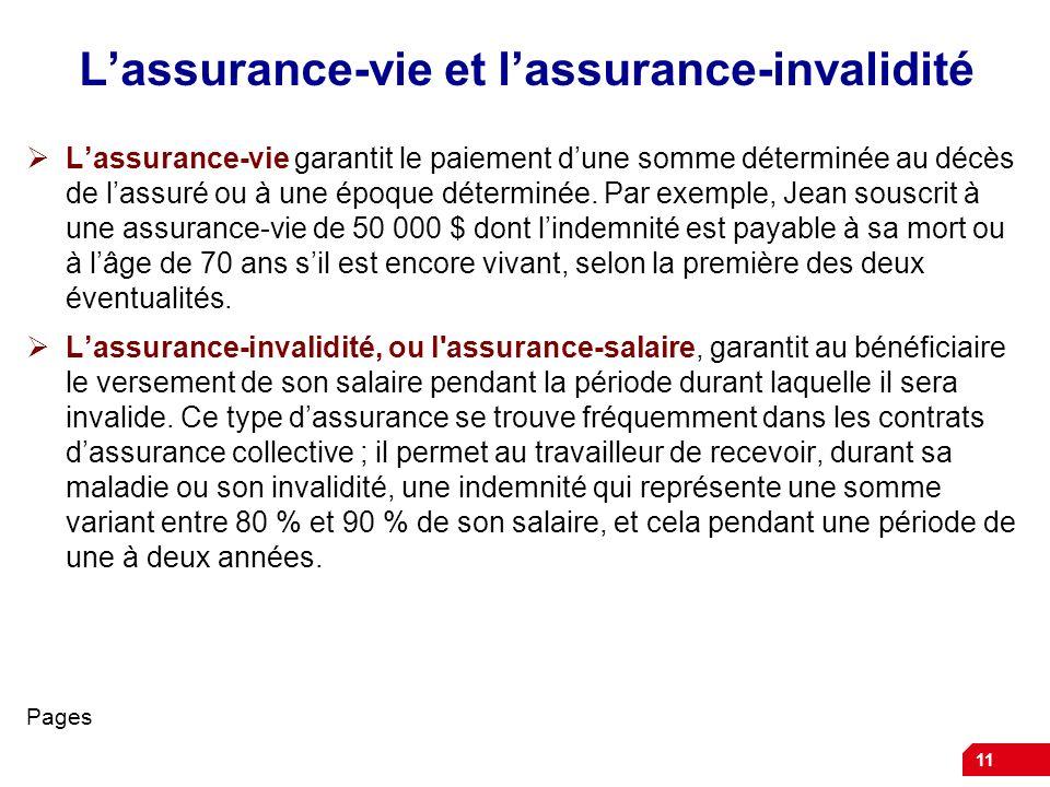 L'assurance-vie et l'assurance-invalidité