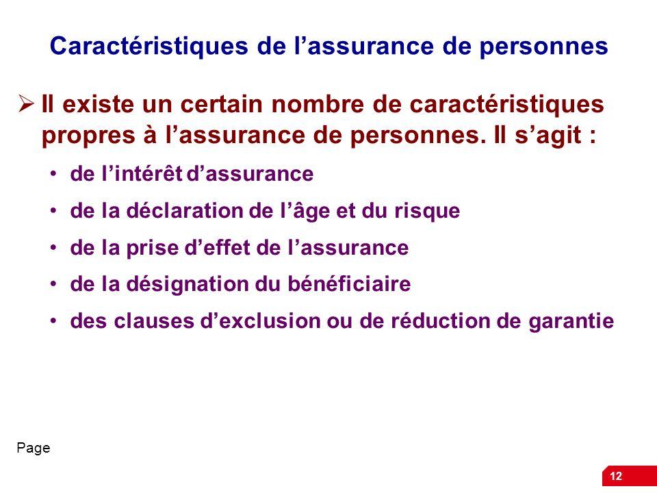 Caractéristiques de l'assurance de personnes