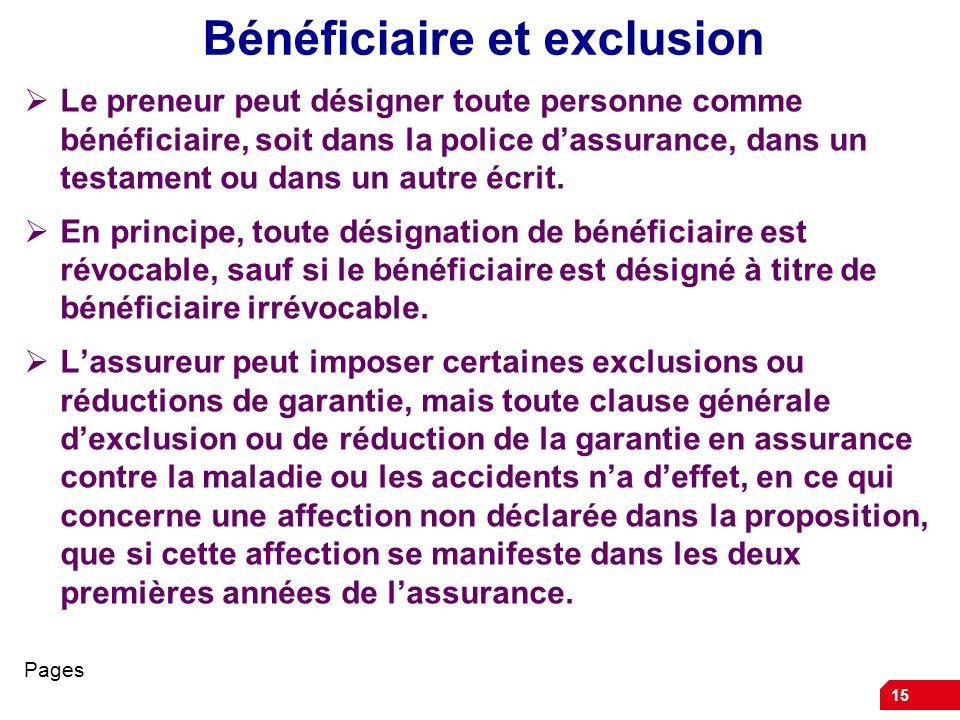 Bénéficiaire et exclusion