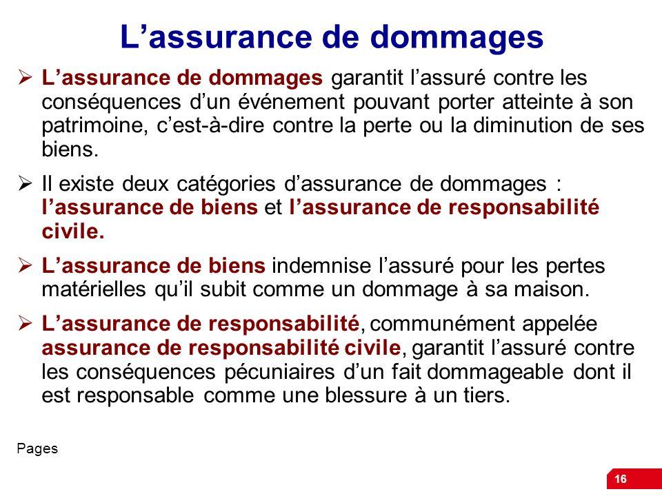 L'assurance de dommages