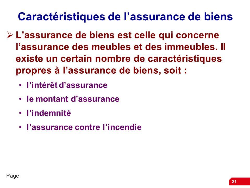 Caractéristiques de l'assurance de biens
