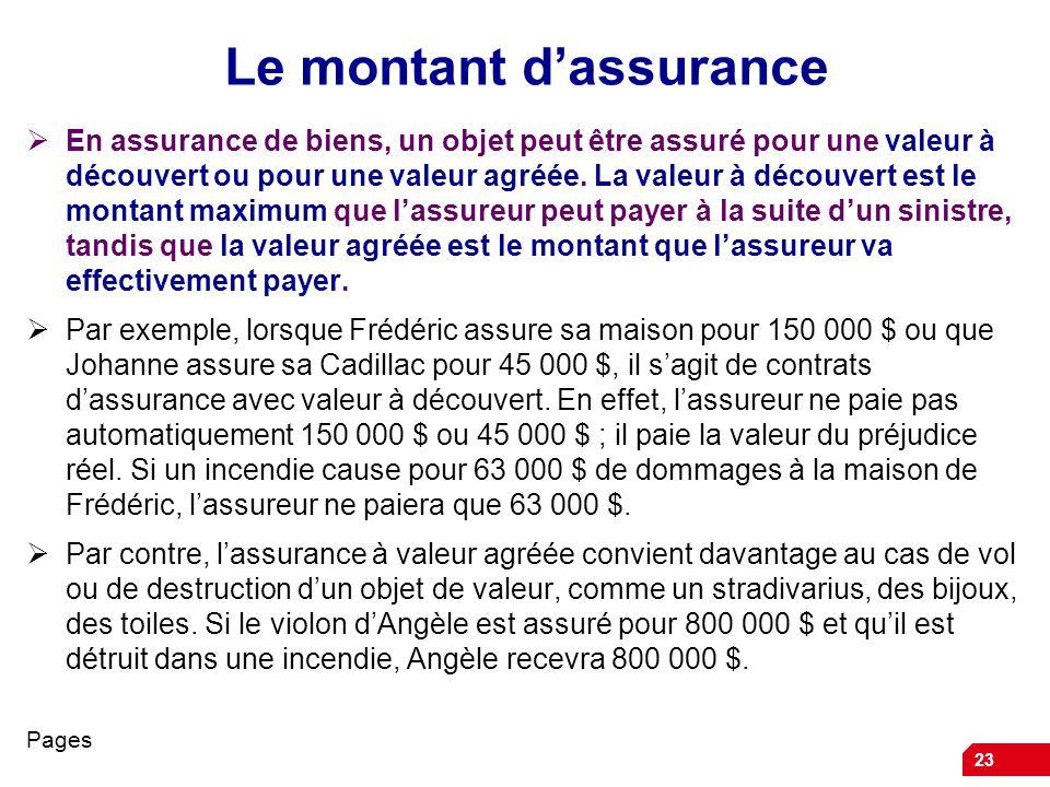 Le montant d'assurance