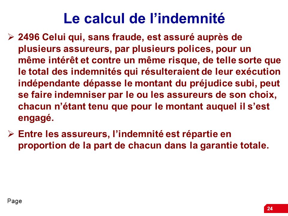 Le calcul de l'indemnité