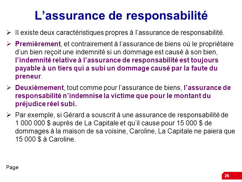 L'assurance de responsabilité