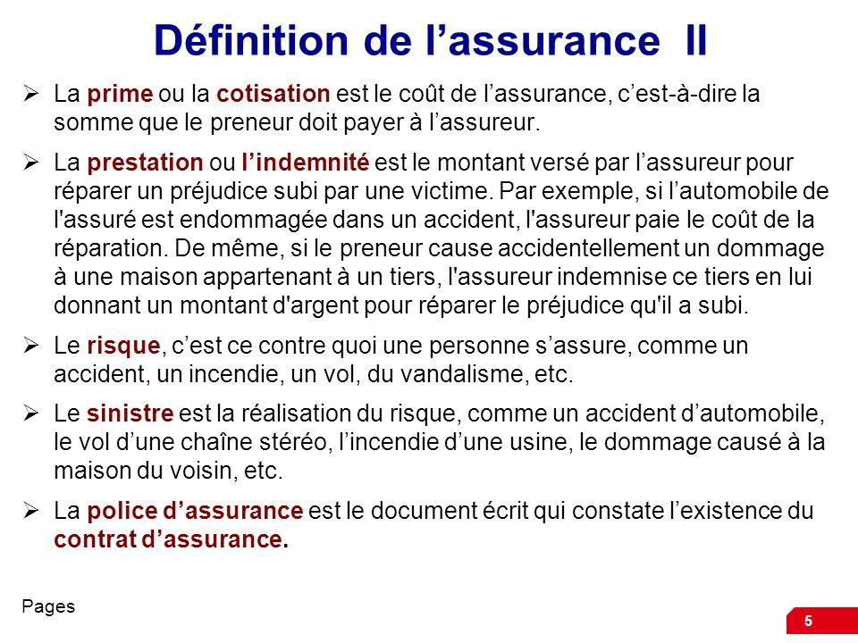 Définition de l'assurance II