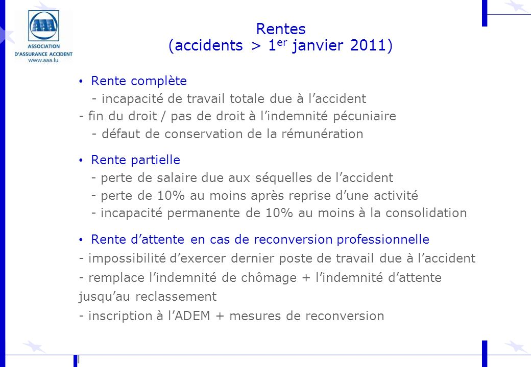 Rentes (accidents > 1er janvier 2011)