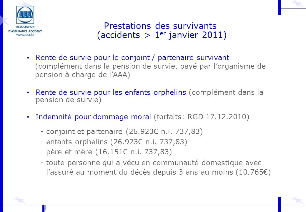 Prestations des survivants (accidents > 1er janvier 2011)