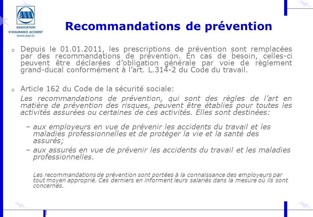 Recommandations de prévention