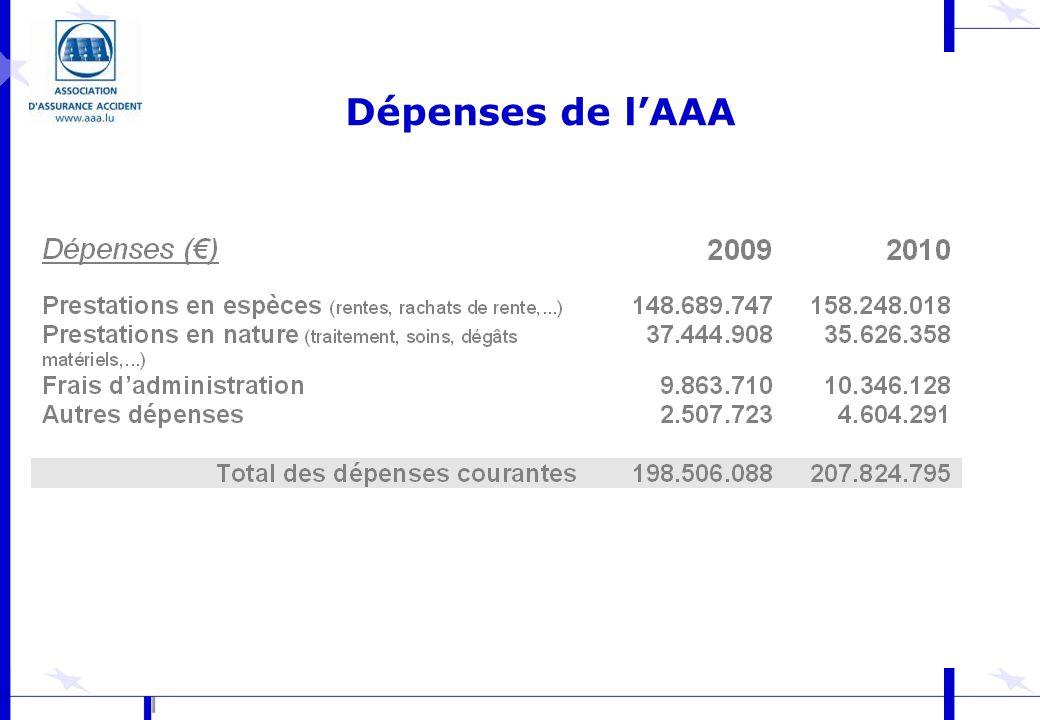 Dépenses de l'AAA