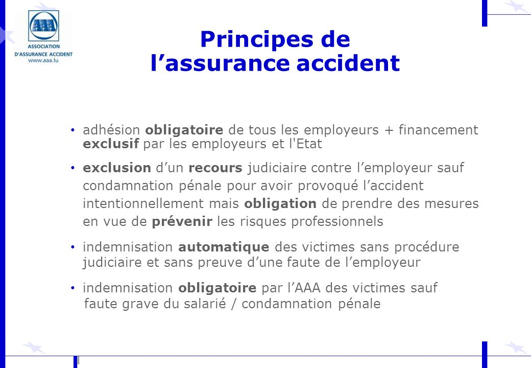 Principes de l'assurance accident