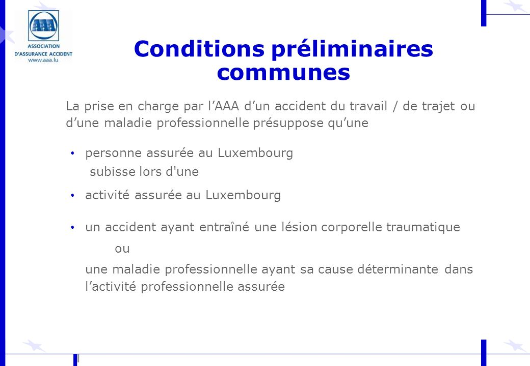 Conditions préliminaires communes