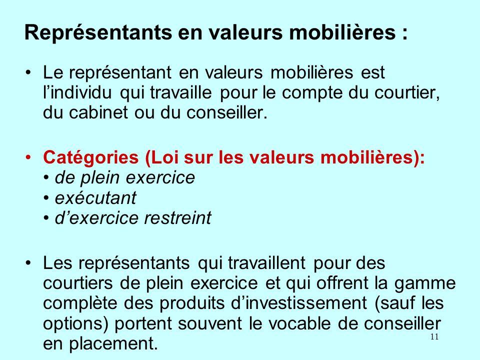 Représentants en valeurs mobilières :